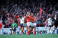 Martin O'Neill (Forest) celebrates his goal with John McGovern (Forest) Nottingham Forest v Tottenham Hotspur. 19/8/78 1978 / 79 season Credit : Colorsport