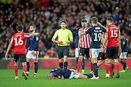Referee Lee Probert waits to show Danny Hylton (#9) of Luton Town FC a red card during the EFL Sky Bet League 1 match between Sunderland AFC and Luton Town at the Stadium Of Light, Sunderland, England on 12 January 2019.