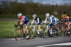 Chantal Blaak (NED), Ruth Winder (USA) and Lauretta Hanson (AUS) set the pace at Le Samyn des Dames 2019, a 101 km road race from Quaregnon to Dour, Belgium on March 5, 2019. Photo by Sean Robinson/velofocus.com