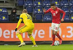 Alexander Bah (Danmark) under venskabskampen mellem Danmark og Sverige den 11. november 2020 på Brøndby Stadion (Foto: Claus Birch).