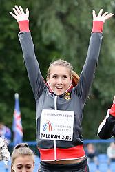 12.07.2015, Kadriorg Stadion, Tallinn, EST, U23 Leichtathletik EM, Tallinn, im Bild Rebekka Haase (GER) // Rebekka Haase (GER) gold medalist in the women??s 4x100m Relay U23 Championships at the Kadriorg Stadion in Tallinn, Estland on 2015/07/12. EXPA Pictures © 2015, PhotoCredit: EXPA/ Eibner-Pressefoto/ Fusswinkel<br /> <br /> *****ATTENTION - OUT of GER*****