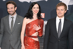 (L-R) Charlie Cox, Krysten Ritter and Finn Jones attend the 'Marvel's The Defenders' New York Premiere at Tribeca Performing Arts Center in New York, NY, on on July 31, 2017. (Photo by Anthony Behar) *** Please Use Credit from Credit Field ***
