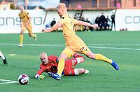 Fotball , 6. april 2019 ,  Eliteserien , Mjøndalen - Bodø/Glimt 4-5<br /> Geir Herrem , Glimt runder Julian Faye Lund , MIF og scorer mål