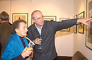 Betty Joseph and Nicholas Garland, Nicholas Garland prints and drawings, Fine Art Society. 13 May 2003. © Copyright Photograph by Dafydd Jones 66 Stockwell Park Rd. London SW9 0DA Tel 020 7733 0108 www.dafjones.com