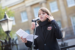 © Licensed to London News Pictures. 22/10/2016. London, UK. Carey Mulligan takes part in the 'Rally For Aleppo', calling for the government to do more to stop the bombing in Syria. Photo credit : Tom Nicholson/LNP