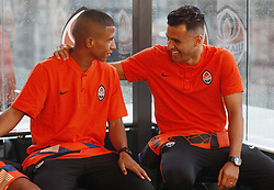 July 17, 2018 - Kiev, Ukraine - JUNIOR MORAES (R) and CIPRIANO (L) during the new Shakhtar Donetsk players official presentation in Kiev, Ukraine, on 17 July 2018. (Credit Image: © Serg Glovny via ZUMA Wire)