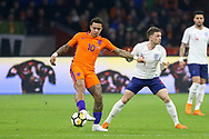Netherlands forward Memphis Depay (Olympique Lyonnais) battles with England defender Kieran Trippier during the Friendly match between Netherlands and England at the Amsterdam Arena, Amsterdam, Netherlands on 23 March 2018. Picture by Phil Duncan.