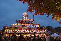 The Tower of pumpkins illumated the streets of downtown Laconia during Saturday's Pumpkin Festival.  (Karen Bobotas/for the Laconia Daily Sun)