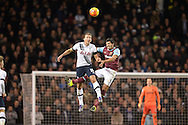 Harry Kane of Tottenham Hotspur and James Tomkins of West Ham United compete for the ball in the air. Barclays Premier league match, Tottenham Hotspur v West Ham Utd at White Hart Lane in London on Sunday 22nd November 2015.<br /> pic by John Patrick Fletcher, Andrew Orchard sports photography.