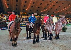 Boerenpaarden race, Van Broeckhoven Peter, Philippaerts Johan, Van de Craen Lieven, Philippaerts Ludo<br /> Jumping Mechelen 1998<br /> © Hippo Foto - Dirk Caremans<br /> 03/12/2020