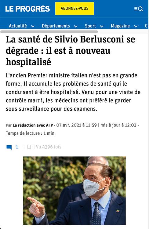 https://www.leprogres.fr/politique/2021/04/07/la-sante-de-silvio-berlusconi-se-degrade-il-est-a-nouveau-hospitalise