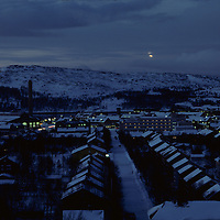 Norway, Darkness fall at 2:30 PM over the arctic town of Kirkennes in early November