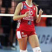 Scavolini Pesaro's Francesca FERRETTI during their Women's Volleyball CEV Champions League semi final match at Burhan Felek Arena in Istanbul, Turkey on 20 March 2011. Photo by TURKPIX