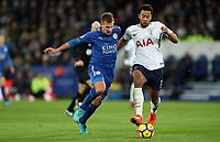 Football - 2017 / 2018 Premier League - Leicester City vs. Tottenham Hotspur<br /> <br /> Marc Albightonn and Mousa Dembele of Tottenham Hotspur of Leicester City at King Power Stadium.<br /> <br /> COLORSPORT