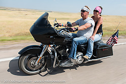 Heading to the ranch on the annual Lichter/Sugar Bear ride during the 75th Annual Sturgis Black Hills Motorcycle Rally.  SD, USA.  August 5, 2015.  Photography ©2015 Michael Lichter.