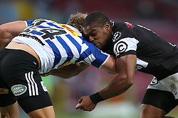 Werner Kok of Western Province is tackled by Sibusiso Sithole of the Sharks during the Currie Cup Premier Division match between the DHL Western Province and the Sharks held at the DHL Newlands Rugby Stadium in Cape Town, South Africa on the 3rd September  2016<br /> <br /> Photo by: Shaun Roy / RealTime Images