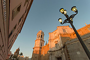 Low angle view of Cadiz Cathedral with street lamp in foreground, Cadiz, Andalusia, Spain