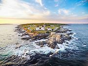 An aerial drone view of Beavertail Lighthouse of Jamestown, Rhode Island.