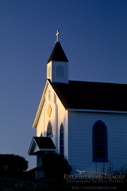Sunset light on Church Steeple, Trinidad, Humboldt County, CALIFORNIA