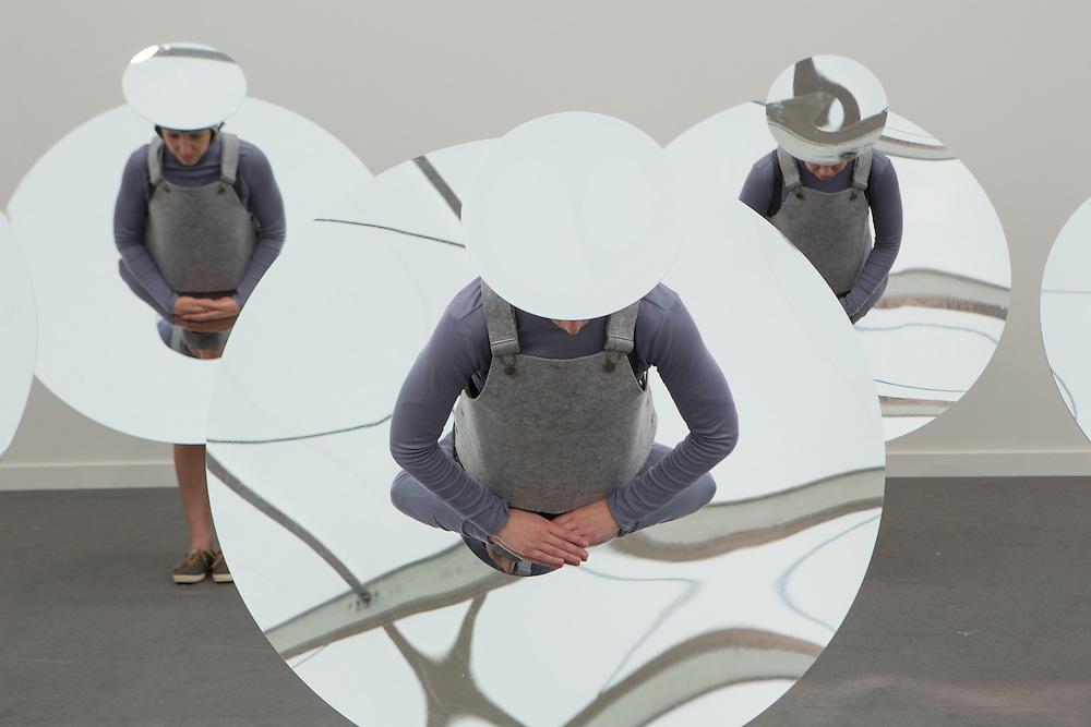 "New York, NY - 6 May 2016. Frieze New York art fair. A performance piece by Eduardo Navarro, titled ""Instruction from the Sky."""