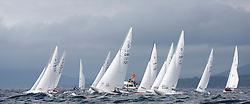 International Dragon Class Edinburgh Cup 2015.<br /> <br /> The first days racing in a strong southerly.<br /> <br /> Startline with GBR720, AIMEE, Julia Bailey, Royal Yacht Squadron<br /> <br /> <br /> Credit Marc Turner