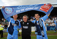 Wycombe Wanderers/Notts County Coca Cola League Two 02.05.09 <br /> Photo: Tim Parker Fotosports International<br /> Peter Taylor Wycombe manager with Gary Holt and Chris Zebroski celebrate their promotion to Coca Cola League one