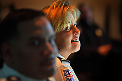 Police Chief Cathy L. Lanier listens to the morning crime briefing in Washington, D.C. on March 16, 2009. Lanier, chief of police with the Metropolitan Police Department of the District of Columbia, MPDC, rose to her position from humble beginnings: she was a high-school dropout after ninth grade and an unwed mother at the age of 15. Despite a rough start, she later earned advanced academic degrees from the Johns Hopkins University and the Naval Postgraduate School in Monterey, Calif., where she completed a Masters in Security Studies. Lanier also attended the John F. Kennedy School of Government at Harvard University and is a graduate of the FBI Academy and the University of the District of Columbia. She has been on the force for 18 years.