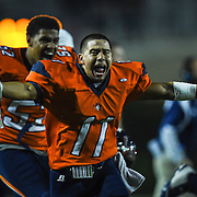 Orange Coast College wide receiver Richard Caceres (#11) celebrates the regular season game victory against Golden West College at the 2015 National Southern League at LeBard Stadium on November 7, 2015, in Costa Mesa, California.<br /> <br /> Photo by Yong Teck Lim/Sports Shooter Academy