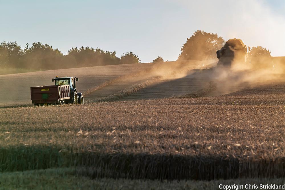 Overwells, Jedburgh, Scottish Borders, Scotland, UK. 27th August 2021. Farmers harvest a field of wheat at sunset on Overwells Farm.