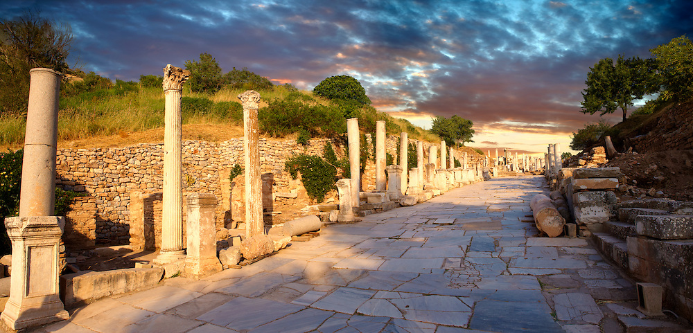 Curetes Street (Priest Street)  that runs through the centre of Ephesus. Ephesus Archaeological Site, Anatolia, Turkey. .<br /> <br /> If you prefer to buy from our ALAMY PHOTO LIBRARY  Collection visit : https://www.alamy.com/portfolio/paul-williams-funkystock/ephesus-celsus-library-turkey.html<br /> <br /> Visit our TURKEY PHOTO COLLECTIONS for more photos to download or buy as wall art prints https://funkystock.photoshelter.com/gallery-collection/3f-Pictures-of-Turkey-Turkey-Photos-Images-Fotos/C0000U.hJWkZxAbg