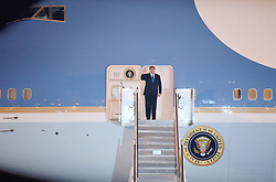 Feb. 26, 2019 - Hanoi, Vietnam - U.S. President DONALD TRUMP disembarks from Air Force One in Hanoi, Vietnam. U.S. President Donald Trump arrived in Vietnam's capital Hanoi on Tuesday night to meet with Kim Jong Un, top leader of the Democratic People's Republic of Korea. (Credit Image: © Xinhua via ZUMA Wire)