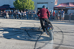 Chris Theis' Street Cowboys stunt show at Hal's Harley-Davidson during the Milwaukee Rally. Milwaukee, WI, USA. Friday, September 2, 2016. Photography ©2016 Michael Lichter.