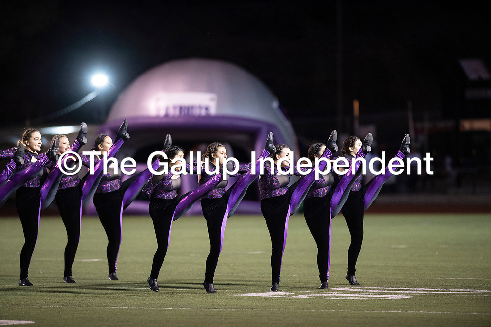 The Miyamura High School dance team performing during halftime at the Miyamura Patriots and Gallup Bengals football game, Friday Oct. 12, 2018 in Gallup.