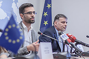 Dec. 5, 2014 - Pristina, Kosovo - Association of Journalists of Kosovo, on Friday, December 5, 2014, during a press conference signed legal support to journalists with the lawyers association 'Partners' (Credit Image: © Vedat Xhymshiti/ZUMA Wire)