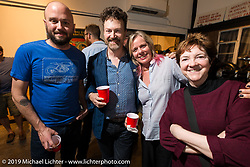 Alan Stulberg, Paul D'Orleans and Susan McLaughlin at the pre-party for the Handbuilt Motorcycle Show at Revival Cycles. Austin, TX. April 9, 2015.  Photography ©2015 Michael Lichter.