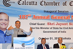 October 1, 2018 - Kolkata, West Bengal, India - Union Minister of State for Civil Aviation Jayant Sinha addresses the 187th Annual General Meeting of Calcutta Chamber of Commerce. (Credit Image: © Saikat Paul/Pacific Press via ZUMA Wire)
