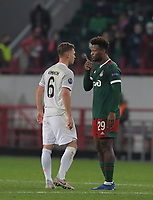MOSCOW, RUSSIA - OCTOBER 27: Joshua Kimmich and Zé Luís during the UEFA Champions League Group A stage match between Lokomotiv Moskva and FC Bayern Muenchen at RZD Arena on October 27, 2020 in Moscow, Russia. (Photo by MB Media)