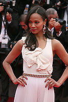 Zoe Saldana at the the Grace of Monaco gala screening and opening ceremony red carpet at the 67th Cannes Film Festival France. Wednesday 14th May 2014 in Cannes Film Festival, France.
