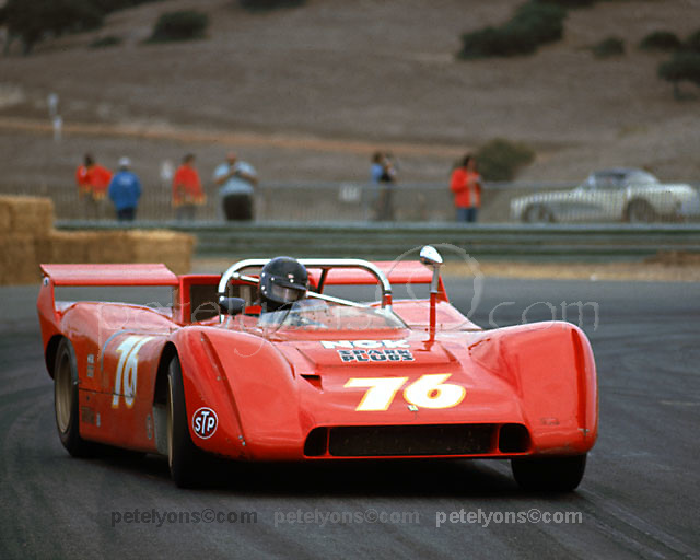 Jim Adam in ex-Amon Ferrari 612P, now with 5-liter engine, at 1971 Laguna Seca Can-Am.