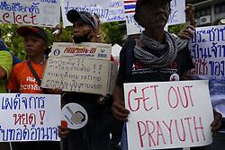 May 5, 2018 - Bangkok, Bangkok, Thailand - Thai pro-democracy activists and supporters display placards during a demonstration against military's in Bangkok, Thailand May 5, 2018. (Credit Image: © Anusak Laowilas/NurPhoto via ZUMA Press)