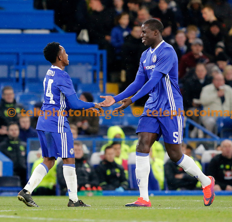 Chelsea's Kurt Zouma congratulates Josimar Quintero for his goal during the Checkatrade Trophy match between Chelsea U21's and Oxford United at Stamford Bridge in London. November 8, 2016.<br /> Carlton Myrie / Telephoto Images<br /> +44 7967 642437
