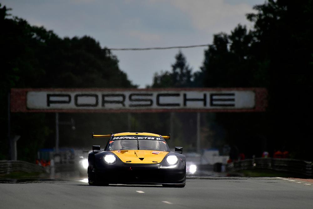 #56 Team Project 1 Porsche 911 RSR: Jörg Bergmeister, Patrick Lindsey, Egidio Perfetti<br /> Wednesday 13 June 2018<br /> 24 Hours of Le Mans<br /> 2018 24 Hours of Le Mans<br /> Circuit de la Sarthe  FR<br /> World Copyright: Scott R LePage