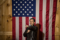 Pete Buttigieg takes questions from the crowd during his 2020 Barn Party in New Hampton on Saturday afternoon.  (Karen Bobotas/for the Laconia Daily Sun)