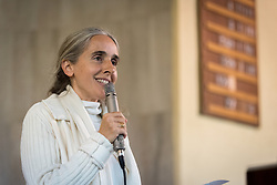 1 December 2019, Madrid, Spain: Brahma Kumaris representative Esperanza shares a word of prayer, as representatives of various faiths gather in the Iglesia de Jesús (Church of Christ) of the Iglesia Evangélica Española (Evangelical Church of Spain) for an interfaith dialogue and prayer service on the eve of the United Nations climate conference (COP25) in Madrid, Spain.