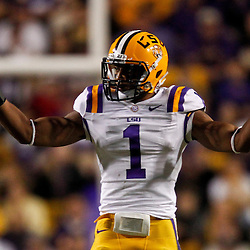 November 17, 2012; Baton Rouge, LA, USA  LSU Tigers safety Eric Reid (1) against the Ole Miss Rebels during a game at Tiger Stadium. LSU defeated Ole Miss 41-35. Mandatory Credit: Derick E. Hingle-US PRESSWIRE