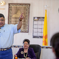 Navajo Nation council delegate Edmund Yazzie speaks during a special meeting at the Churchrock chapter house Saturday.
