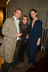 Left to right, MIKE SIMCOCK, SHIRLEY FREEMAN and MARIA GRACHVOGEL at a party to celebrate Stuart Semple as artist in residence at The Bulgari Hotel held at Il Bar, Bulgari Hotel, 171 Knightsbridge, London on 14th October 2015.