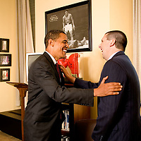 Senator  Barack Obama in his Hart Senate Office Building office in Washington, DC with Mark Lippert. Lippert is the chief foreign policy advisor for Obama's presidential campaign-until now.  He is going to Iraq to assist in fighting with the Naval Reserves.    ©Patrice Gilbert  Sept. 18th, 2007