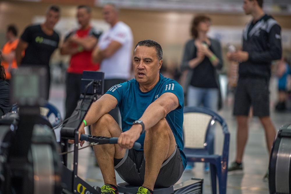 Doug Martin MALE HEAVYWEIGHT Masters E 2K Race #2  08:45am<br /> <br /> www.rowingcelebration.com Competing on Concept 2 ergometers at the 2018 NZ Indoor Rowing Championships. Avanti Drome, Cambridge,  Saturday 24 November 2018 © Copyright photo Steve McArthur / @RowingCelebration