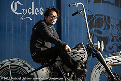 Tatsutya Fujii on one of his custom Harley-Davidson Knuckleheads at his Duas Caras Cycles in Nagoya, Japan. Wednesday, December 5, 2018. Photography ©2018 Michael Lichter.